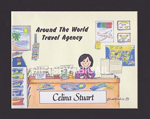 Travel Agent Gift Personalized Custom Cartoon Print 8x10, 9x12 Magnet or Keychain by giftsbyabigail