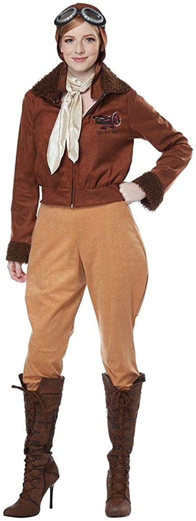 Roaring 20s Costumes- Flapper Costumes, Gangster Costumes Womens Aviator Amelia Earhart Pilot Costume Brown $44.99 AT vintagedancer.com