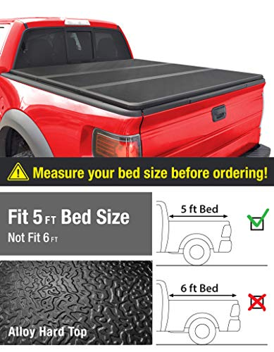 MaxMate Alloy Tri-Fold Hard Top Truck Bed Tonneau Cover for 2005-2019 Nissan Frontier; 2009-2014 Suzuki Equator | Fleetside 5' Bed | for Models with or Without The Utili-Track System