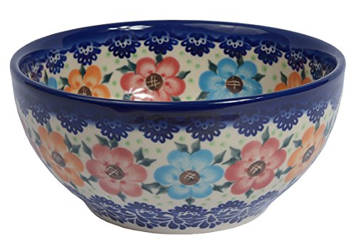 Traditional Polish Pottery, Handcrafted Ceramic Salad or Cereal Bowl 800 ml (d.16cm), Boleslawiec Style Pattern, M.702.BLUELACE