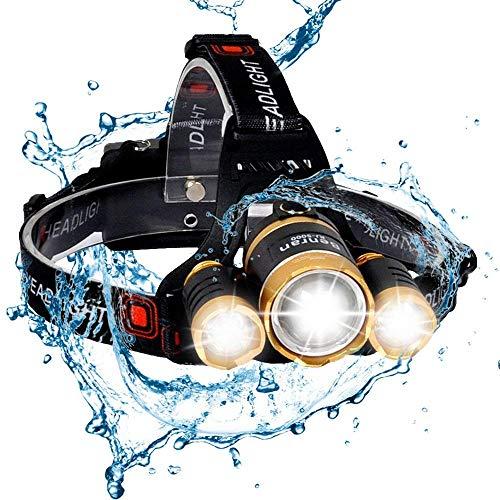 (BenRan Headlamp Super Bright Automatic Sensor Switch Light CREE T6 Adjustable Focus Zoom Lights Lamp,Headlight Bicycle LED Flashlight,4 Modes (Gloden-10000lm))