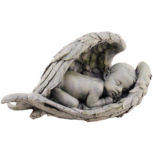 Joseph Studio 11276 Wide Sleeping Baby in Wings Garden Statue, 15-Inch (Baby Statues)