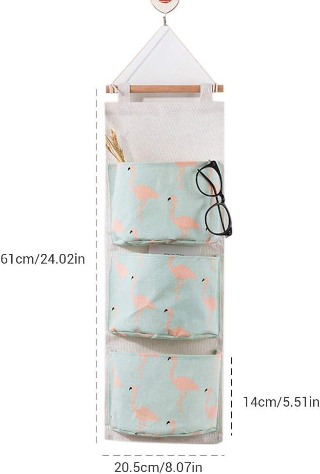 Mallalah Sac de Rangement Suspendu en Tissu Lin Derri/ère Porte Murale Pliable pour Chaussures Jouets Bijoux Cl/és 3 Grilles