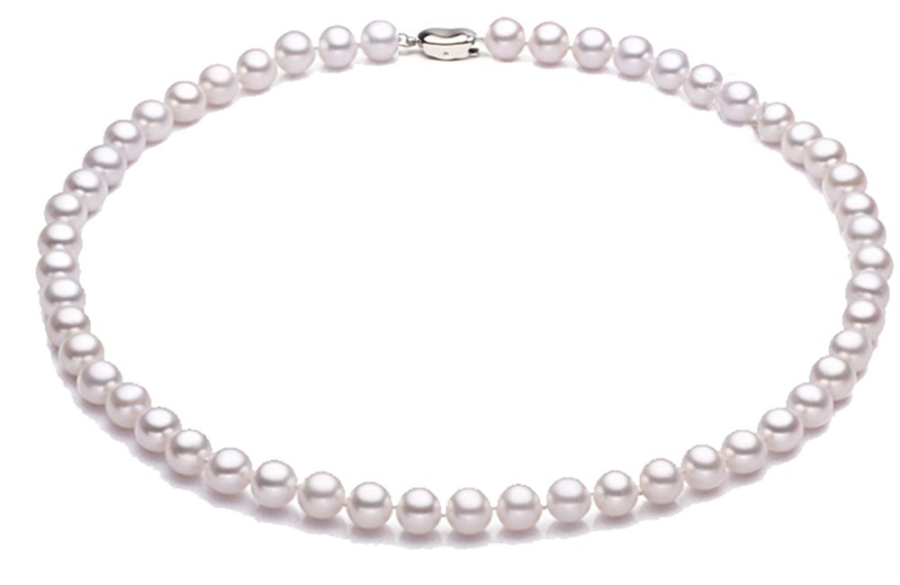 JYX Classic 7-8mm Round White Cultured Freshwater Pearl Necklace 18''