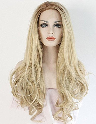 2 Tones Long Wavy Blonde Lace Front Wigs For Women Ombre Brown Roots Synthetic Wig Glueless Heat Resistant Fiber Hair Half Hand Tied 24 inches Aibei'er