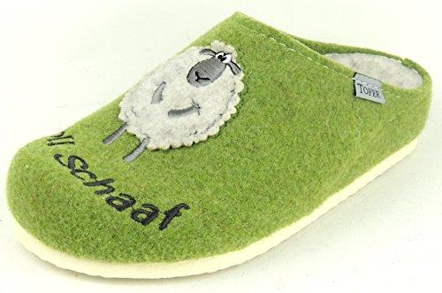 TOFEE Damen Pantoffel Hausschuh WOLLFILZ VOLL SCHAF grün Grün