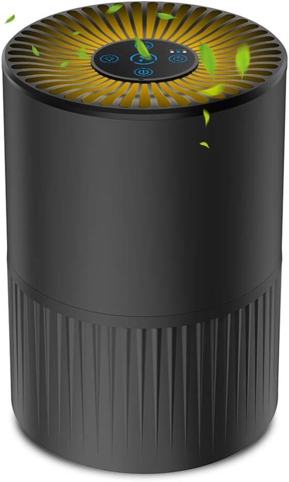 Purificador de Aire con Filtro HEPA, Filtración de 4 Etapas, Purificador Silencioso para el Hogar con 3 Velocidades de Ventilador y Función de Aromaterapia, Temporizador y Luz Nocturna Opcional, Negro