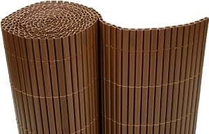 –Estera de PVC (100x 300cm Wind Protector para balcones Valla de jardín marrón–Tubos