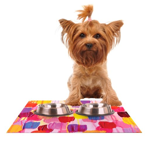KESS InHouse Ebi Emporium Dotty in Pink  Feeding Mat for Pet Bowl, 24 by 15-Inch