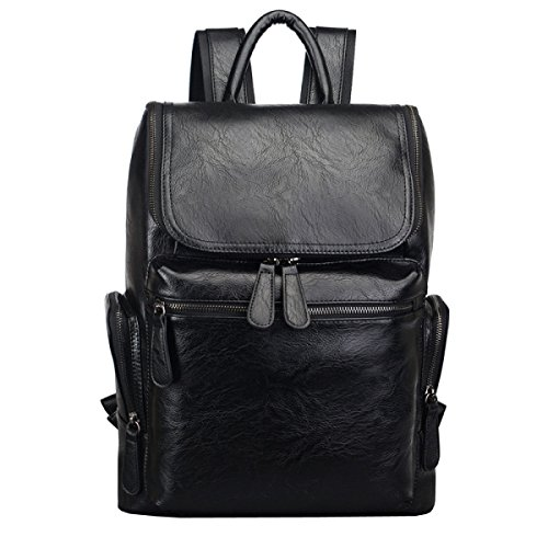 Student Travel Retro Leather Laidaye Business 's Backpack Shoulder Leisure Capacity Large Bag Men Black vwqd7wnZT
