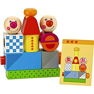 HABA Brain Builder Peg Set - 18 Colorful Wood Blocks & 20 Template Cards in 3 Levels of Difficulty - Ages 2-6