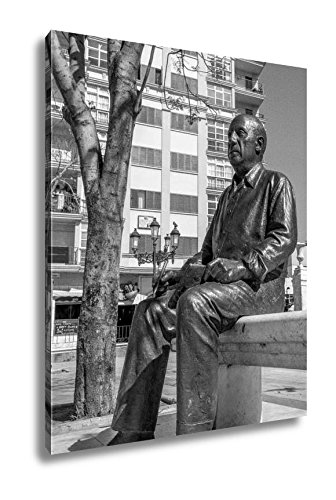 Ashley Canvas Malaga Spain May 01pablo Picasso Statue Shown On May 01 201, Wall Art Home Decor, Ready to Hang, Black/White, 20x16, AG6043756 by Ashley Canvas