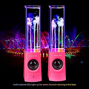 SoundSOUL Water Fountain Speakers Bluetooth Dancing Water Speakers (Dual 3W Speakers, 4 Colored LED Lights, Bluetooth 4.0, Music Control Button) - Pink