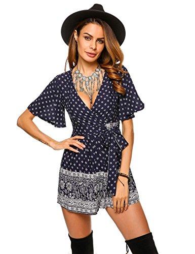 Bulges Women's Boho Style V-Neck Flare Sleeve Belted Floral Print Romper Playsuit Dark Blue (Floral Belted Romper)