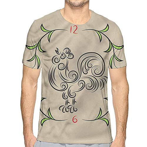 (Funny t Shirt Animal,Floral Swirls Rooster Clock Men's and Women's t Shirt M)