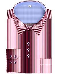 Men's Regular Fit Stripe Contrast Collar Long Sleeve Dress Shirts