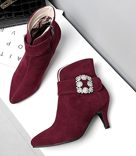 Strass Bottines Pointu Bout Vineux Style Aisun Sexy Rouge Femme qBSX7