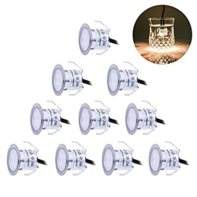 Recessed LED Deck Lighting Kits 12V Low Voltage Warm White ?22mm Waterproof IP 67,Led In Ground Lighting for Steps,Stair,Patio,Floor,Pool Deck ,Kitchen,Outdoor Led Landscape Lighting(10Pcs/Pack)