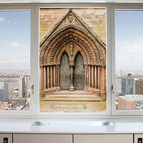 3D Decorative Privacy Window Films,Medieval Middle Age Cathedral Door Exit with Gothic Ornate Features Great Britain Uk Theme,No-Glue Self Static Cling Glass film for Home Bedroom Bathroom Kitchen Off ()