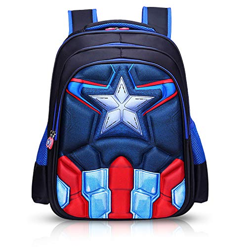 Superhero Backpack for School   3D Logo Design   19L Large Capacity   Recommended for Ages 5 and Up   Two Spacious Compartments   Two Side Pockets   Ideal for Gift   Elementary School Backpack (SH04) -