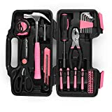 Flexzion Tool Set Box - Hand Tool Kit & Accessories For General Household DIY Home Repair with Plastic Toolbox Storage Organizer Case - Homeowner's Tool Kit (Pink & Black)