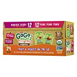 GoGo squeeZ Organic Fruit & VeggieZ on the Go, Variety Pack (Apple Berry/Apple Peach), 3.2 Ounce (24 Pouches), Gluten Free, Vegan Friendly, Healthy Snacks, Unsweetened, Recloseable, BPA Free Pouches