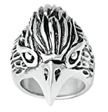 Bishilin Stainless Steel Vintage Silver Black Eagle Head Punk Mens Rings Size 10