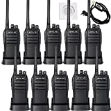 Retevis RT21 Two Way Radios 16CH UHF 400-480MHz VOX Scrambler Walkie Talkies(10 Pack) with Programming Cable