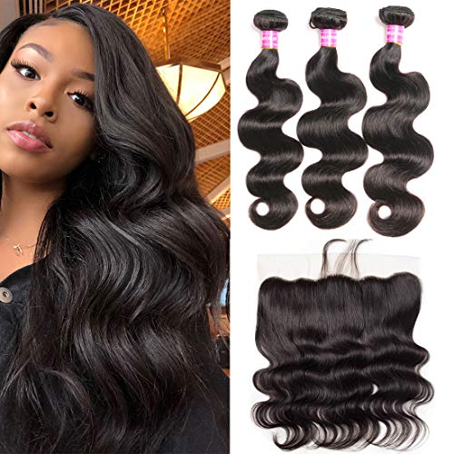 Brazilian Body Wave Hair 3 Bundles with Frontal Closure 13x4 Ear to Ear Lace Frontal with Baby Hair 100% Unprocessed Virgin 8A Human Hair Extensions Weave Natural Black Color (16 18 20+14 Frontal) ()