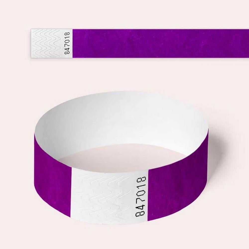 di carta per eventi Tyvek Braccialetti di sicurezza confezione da 100 19mm Purple