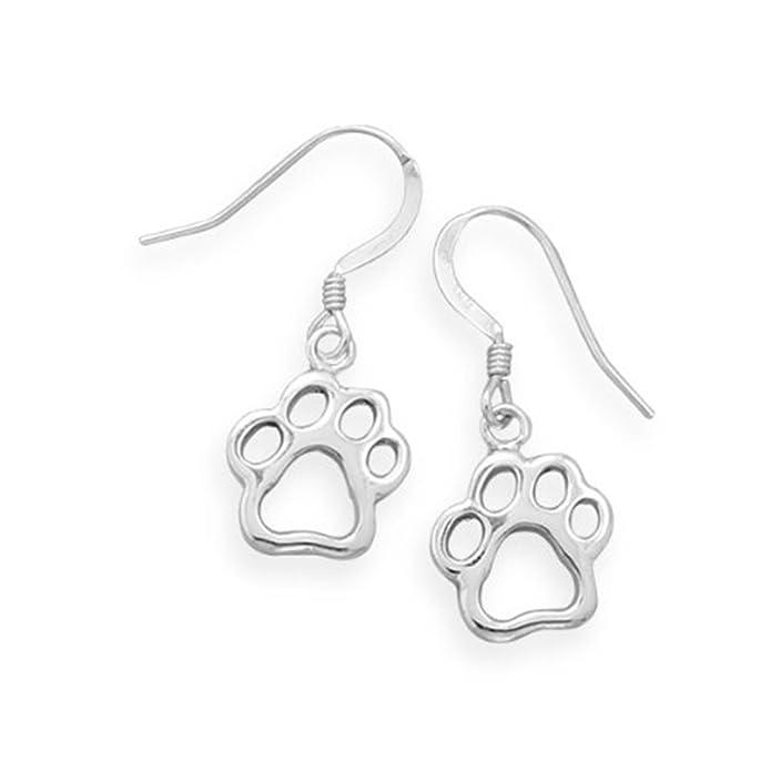 Amazon.com: Animal Paw Print Earrings Cut Out Design Cat Dog ...