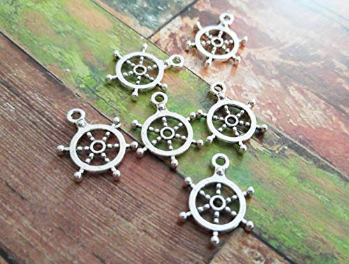 (Pendant Jewelry Making 10 Ship Wheel Charms Pendants Antiqued Silver Nautical Charms Ship Charms Helm)