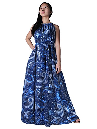 [MayriDress Women's Maxi Dress Long Summer Floral Plus Size Clothing (4X-Long 57 ince, Blue Floral)] (Cheap Plus Size Fancy Dress)