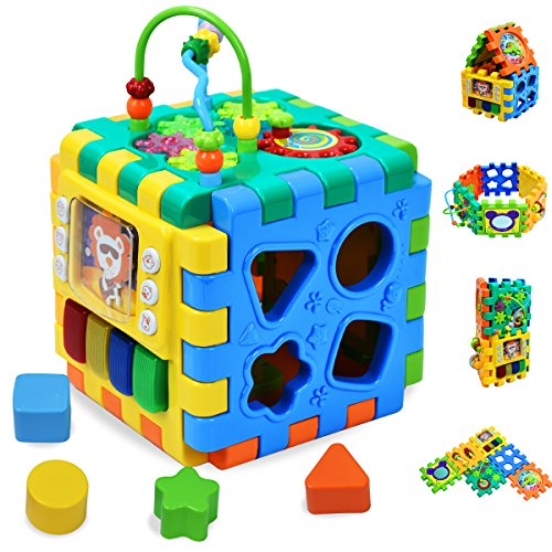 Forstart Activity Cube | 6 in 1 Multipurpose Play Center for Kids Toddlers Shape Color Sorter Beads Maze Time Learning Clock Skill Improvement Educational Game Toys Busy Learner Cube (Center Learning Interactive)