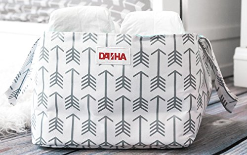 Image of the Diaper Storage Caddy By Danha - Portable Diaper Bag And Stacker With Beautiful White Gray Arrow Unisex Design - Changing Table Storage Basket And Nappy Caddy