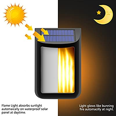 CINOTON Solar Lights,Path Dancing Flame Lighting 66 LED Dusk to Dawn Flickering Outdoor Waterproof Fence lights