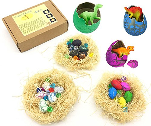 Guaishou Dinosaur Egg 15pcs Nest Novelty Magic Hatching Growing Toys Children Birthday Gift Perfect Holiday Party Game Contains Gems ()