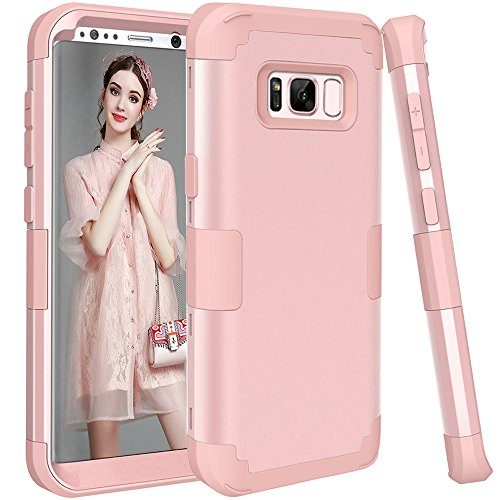 (Galaxy S8 Plus Case, KAMII 3in1 [Shockproof] Drop-Protection Hard PC Soft Silicone Combo Hybrid Impact Defender Heavy Duty Full-Body Protective Case Cover for Samsung Galaxy S8 Plus (Rose Golden))
