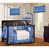 BabyFad Minky Blue 10 Piece Baby Crib Bedding Set