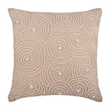 "Designer Beige Shams, Mother Of Pearls Spiral Optic Pattern Pillow Shams, 24""x24"" Pillow Shams, Square Cotton Linen Shams, Contemporary Pillow Shams - Spiral Revolution"