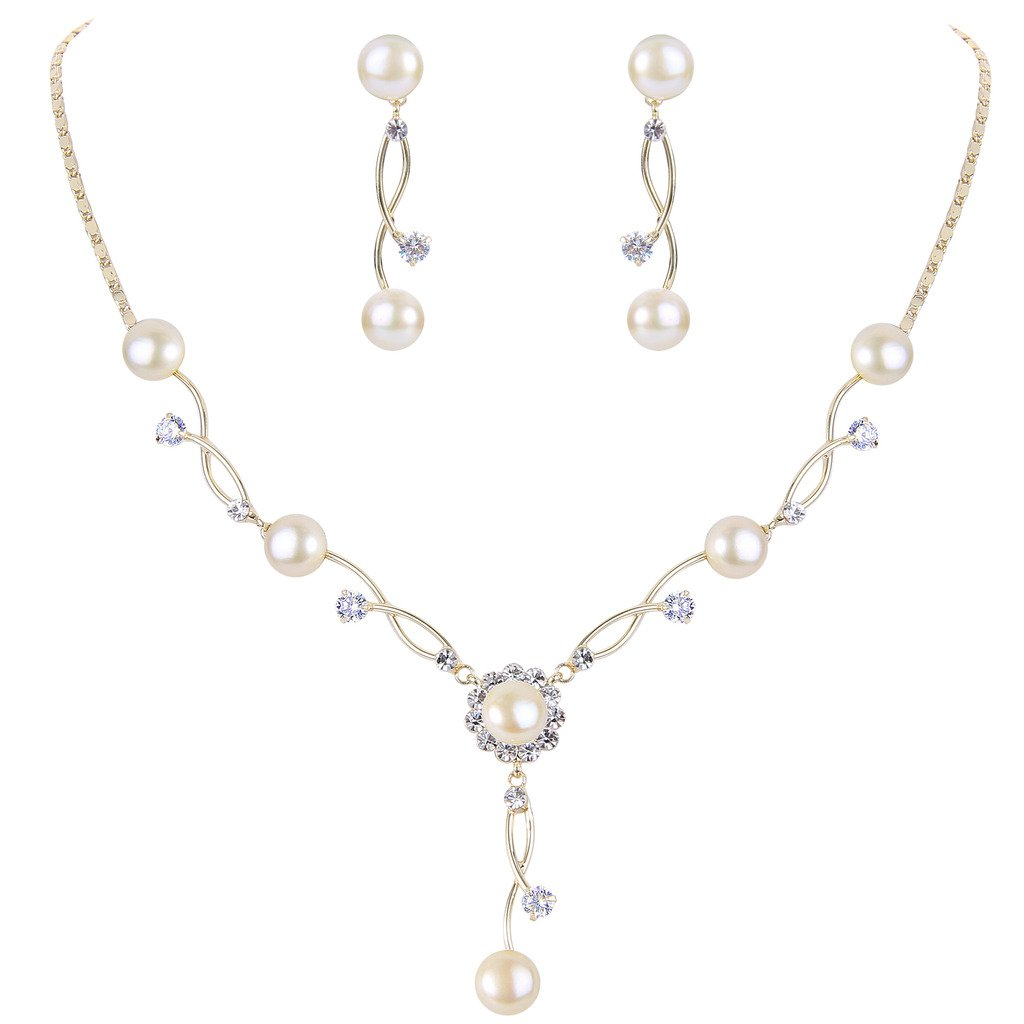 EleQueen Women's Cubic Zirconia Simulated Pearl Bridal Necklace Earrings Jewelry Set Ivory Color Gold-tone