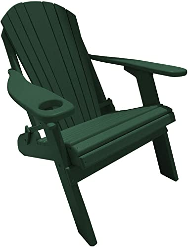 Furniture Barn USA Deluxe Premium Poly Lumber Folding Adirondack Chair w Cup Holder Smart Phone Holder – Green Color