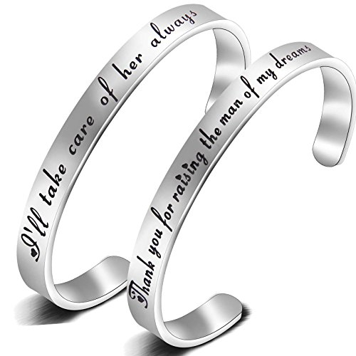 ZISEI Mother In Law Gift Thank You For Raising The Man Of My Dreams I'll Take Care of Her Always Cuff Bangle Bracelet Set- Mothers Day/Birthday/Wedding Party Gift (Silver Set) (My Mother In Law Just Passed Away)