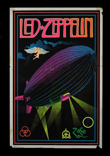 Blujway Vintage Led Zeppelin Black Light Poster Replica 13 x 19 Photo Print