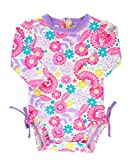 RuffleButts Infant/Toddler Girls Long Sleeve UPF 50+ One Piece Rash Guard Swimsuit - Blooming Buttercups - 18-24m
