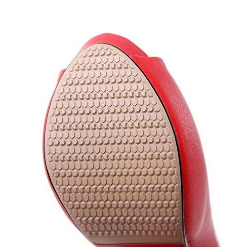AllhqFashion Mujeres Peep Tacón de aguja Material Suave Tachonado Sin cordones Sandalia Rojo
