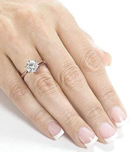 Kobelli Classic Solitaire Round Brilliant Moissanite Engagement Ring 2 Carats 14k Rose Gold (FG/VS)