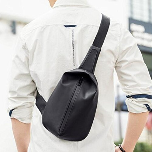 Black Qidi Male Backpack Waterproof Chest Bag Pack Leisure color Black Crossbody Movement ffvq1Rwx