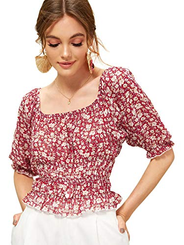Romwe Women's Ditsy Floral Frill Trim Puff Sleeve Shirred Blouse Crop Top Red S - Frill Sleeve Top