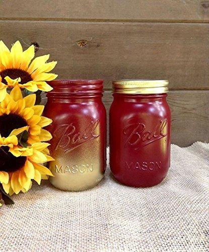 Amazon Com Maroon Red And Gold Pint Mason Jars Rustic Home Decor